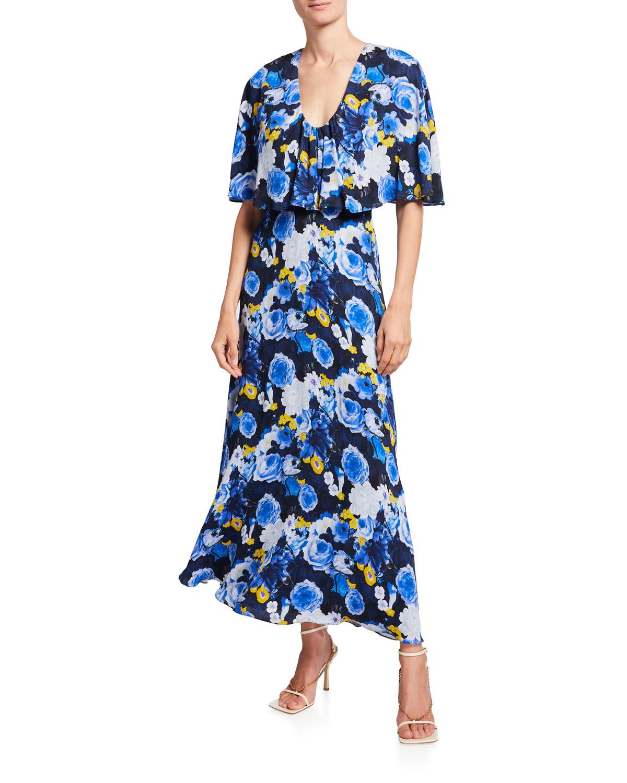 Floral-Print Capelet Midi Dress