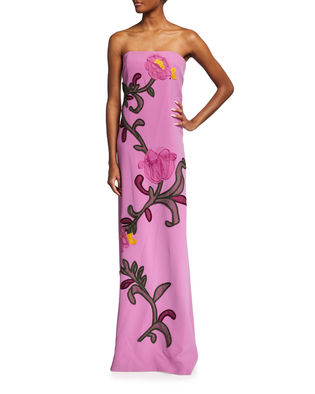 Floral-Applique Strapless Gown