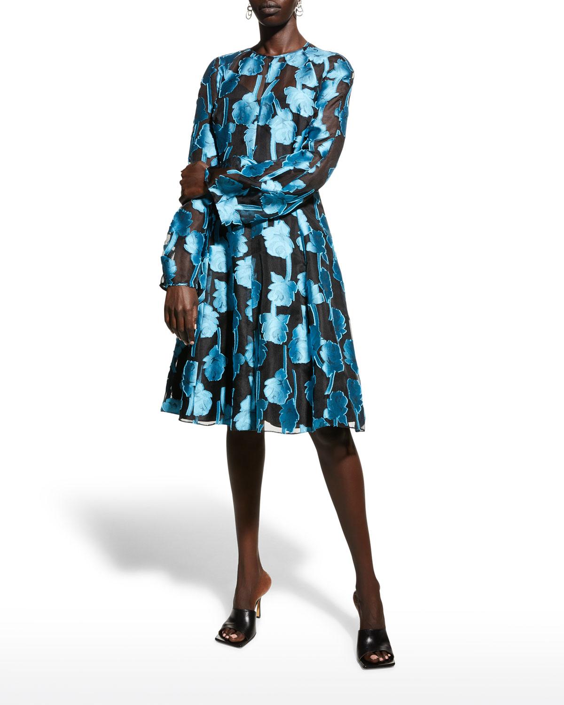 Floral-Jacquard Illusion Dress