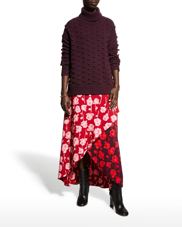 Floral-Print High-Low Maxi Skirt