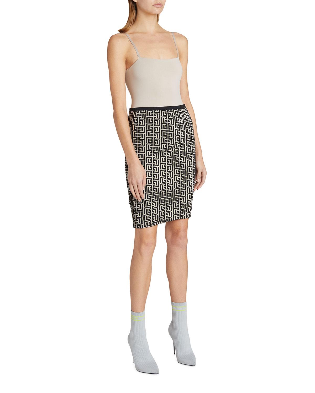 Monogram Jacquard Fitted Skirt