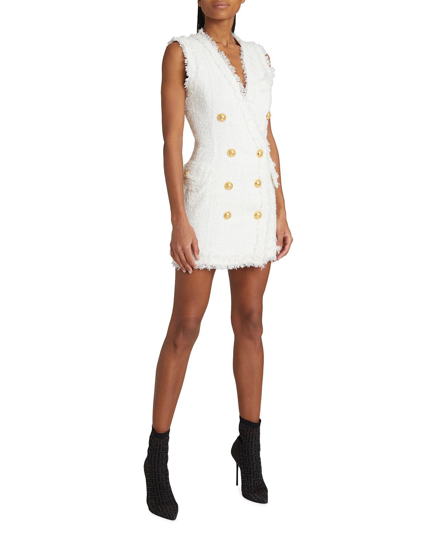 Tweed Frayed Sleeveless Mini Dress