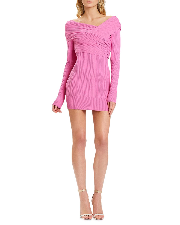 Couture Draped Rib Mini Day Dress