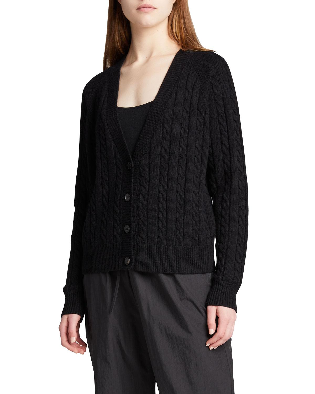 V-Neck Cashmere Cable-Knit Cardigan