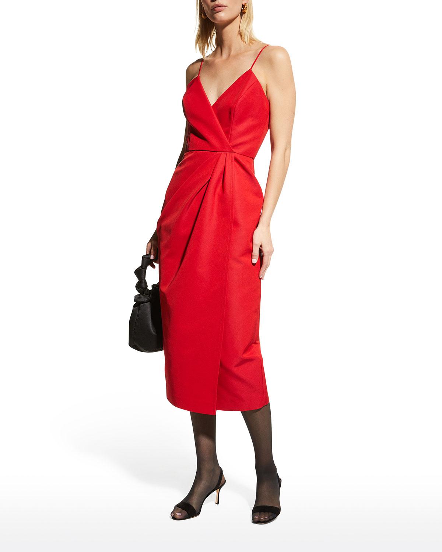 Twist-Front Slit Midi Dress