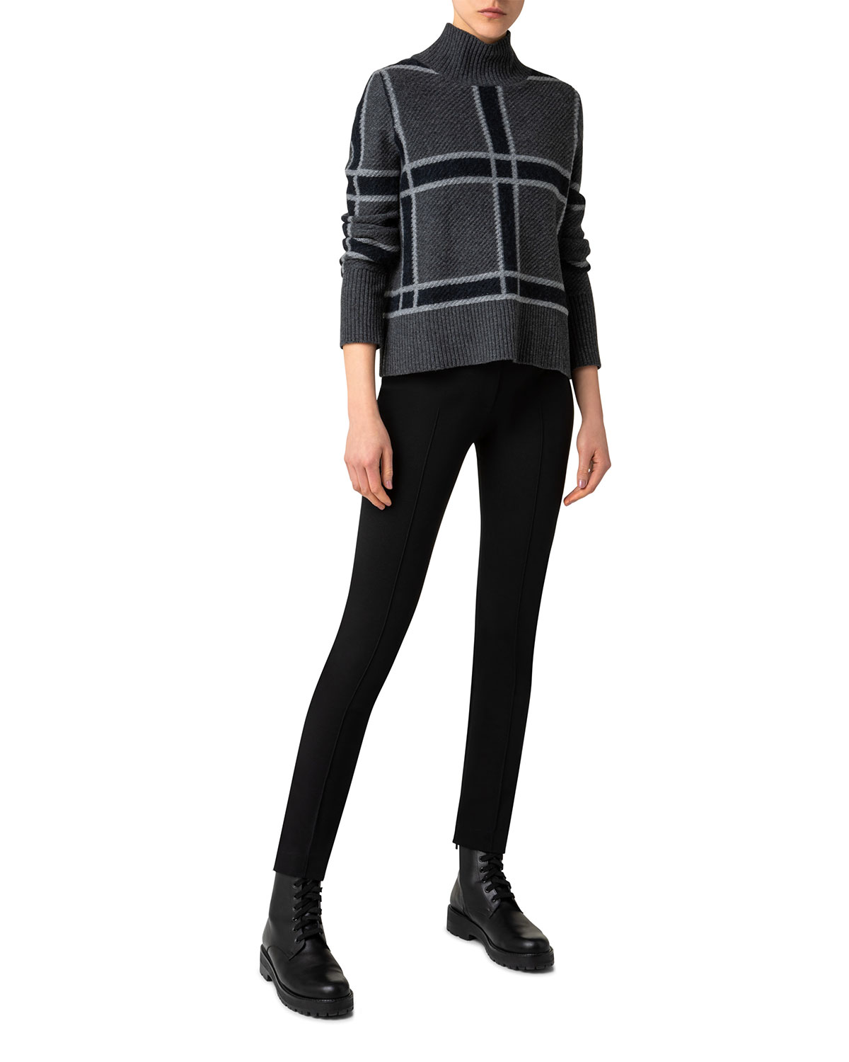Square-Check Wool-Blend Chunky Sweater