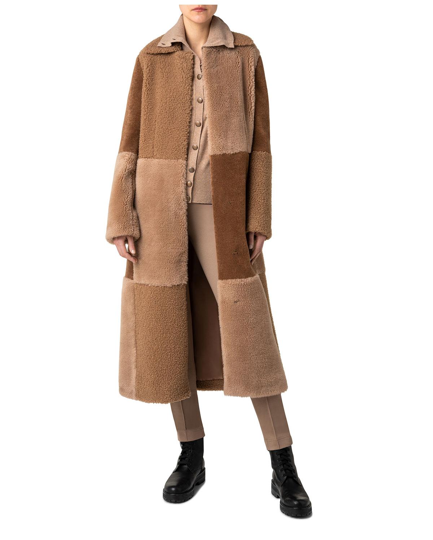 Patchwork Mantel Faux-Fur Coat
