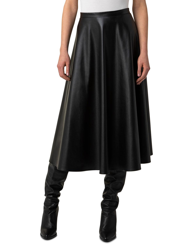 Faux-Leather Circle Midi Skirt