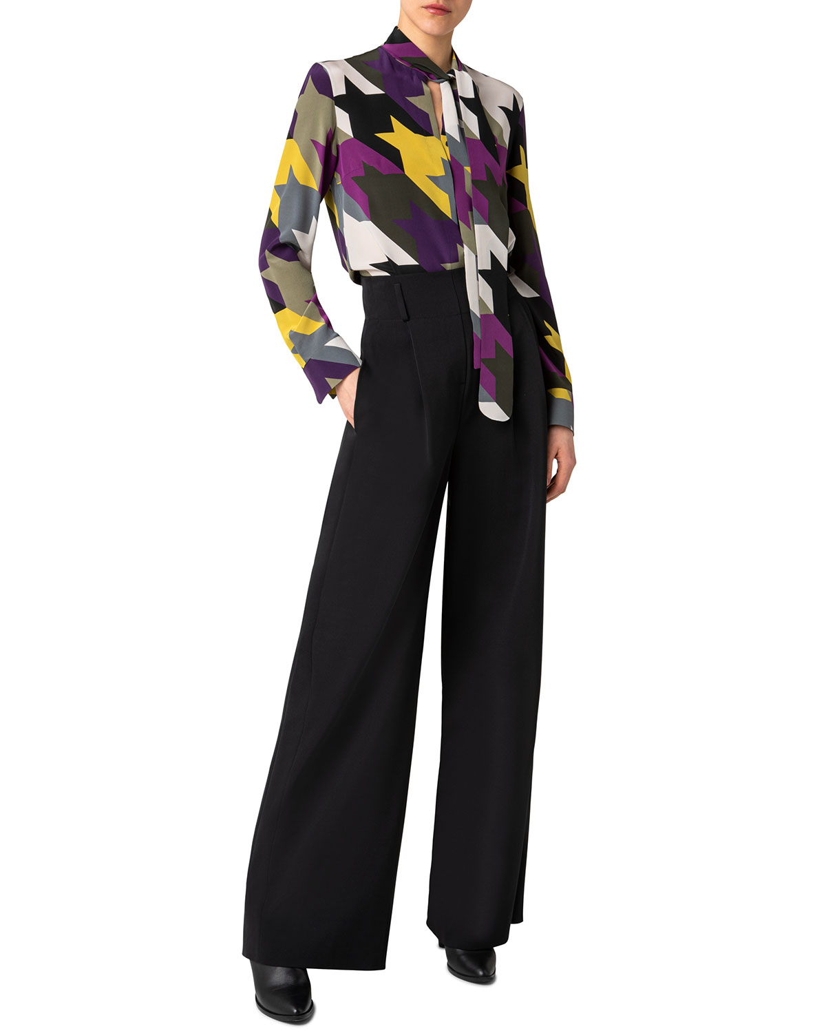 Houndstooth Jacquard Tie-Neck Silk Blouse