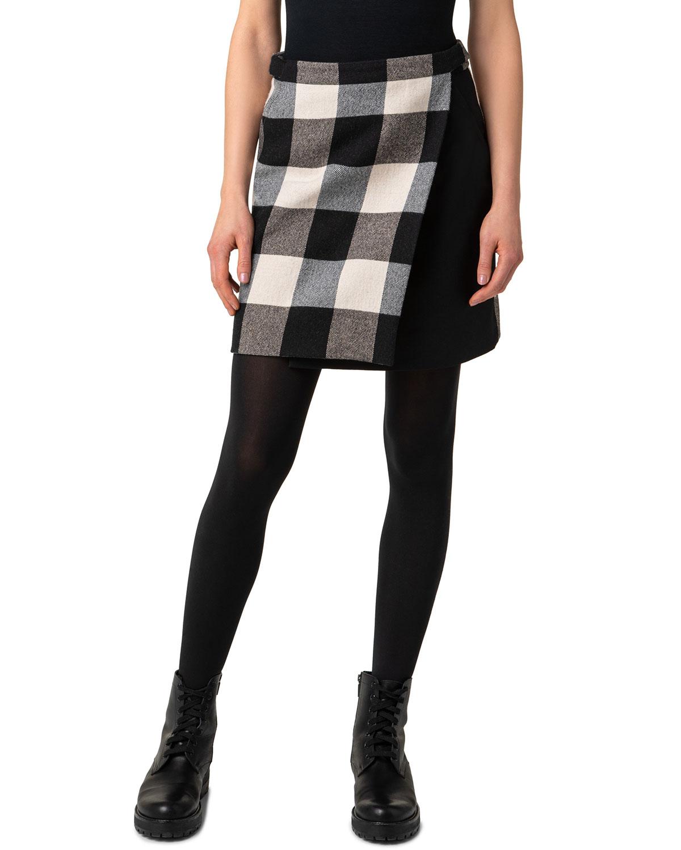 Check Wool Wrap Mini Skirt