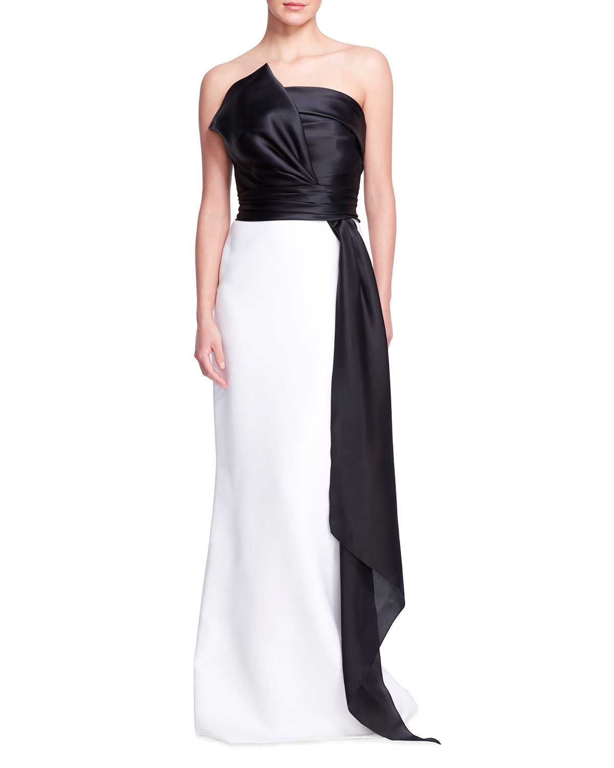 Colorblock Strapless Silk Gown w/ Bow Sash