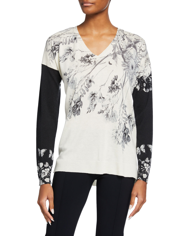 Colorblock Wildflower-Printed Sweater