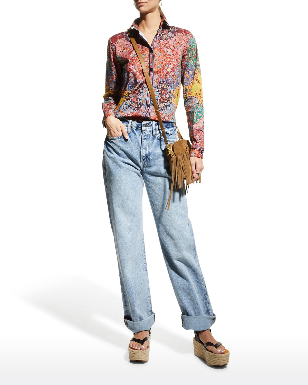Paisley-Printed Button-Down Shirt