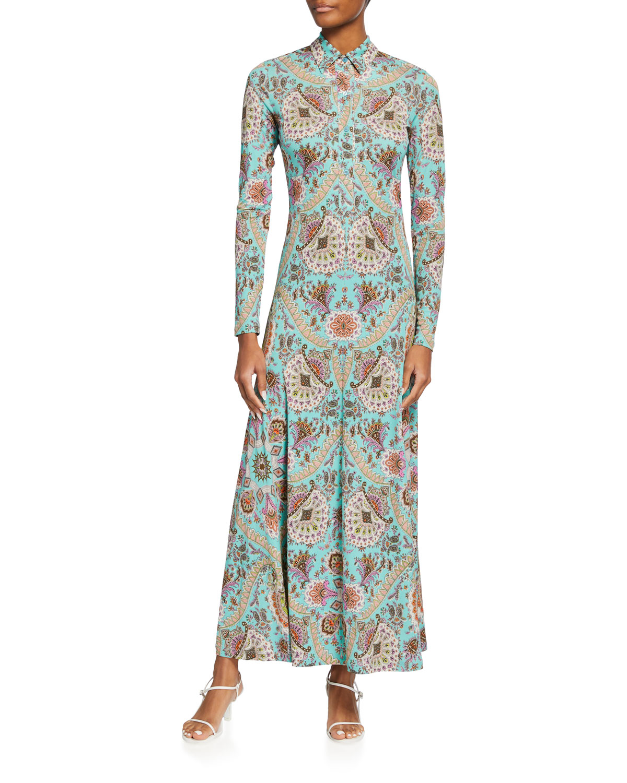 Fern Paisley-Printed Polo Maxi Dress