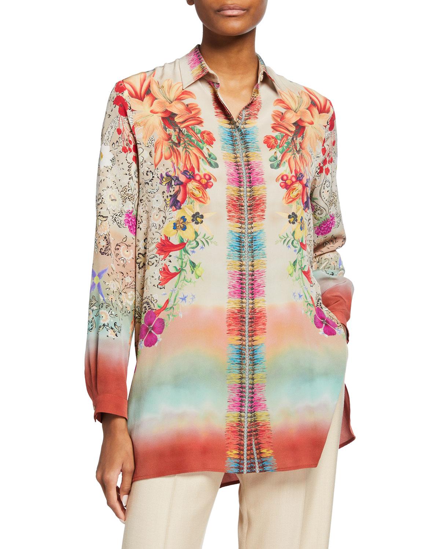 Garden of Ninfa Silk Tunic Top