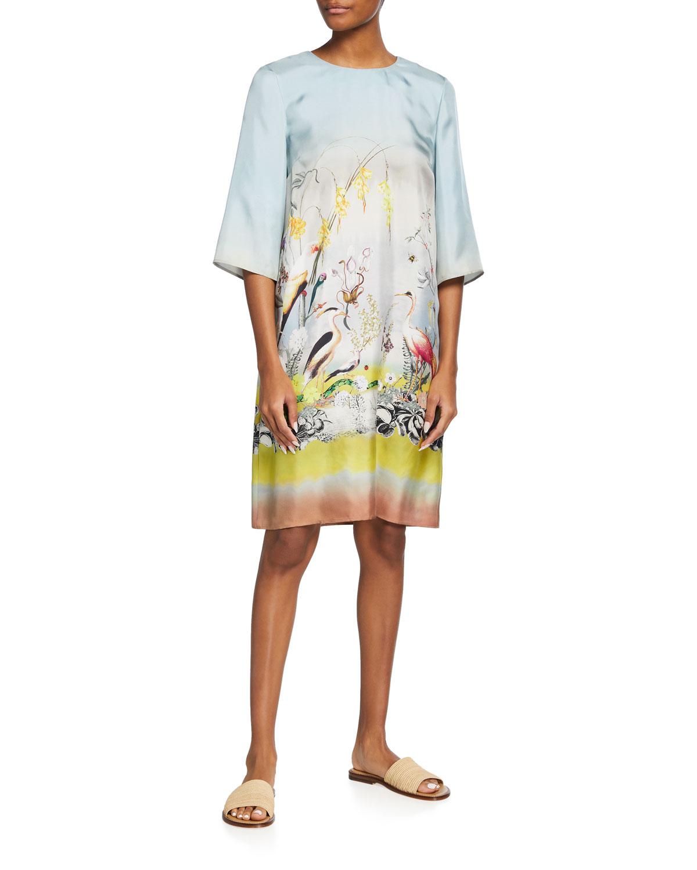 Tucano-Print Silk Shift Dress