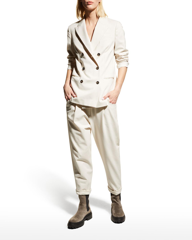Cotton Felpa Double-Breasted Jacket