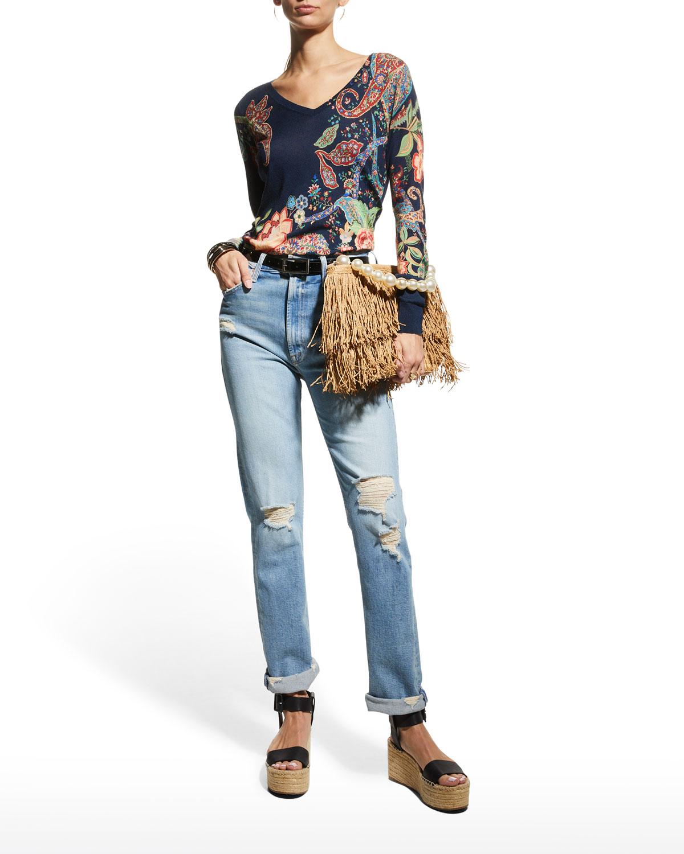 Floral-Print V-Neck Sweater