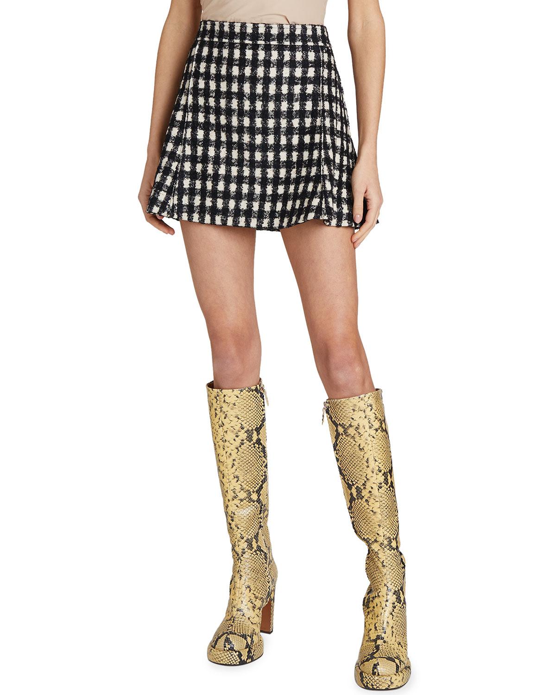Sequin Check-Printed Mini Skirt