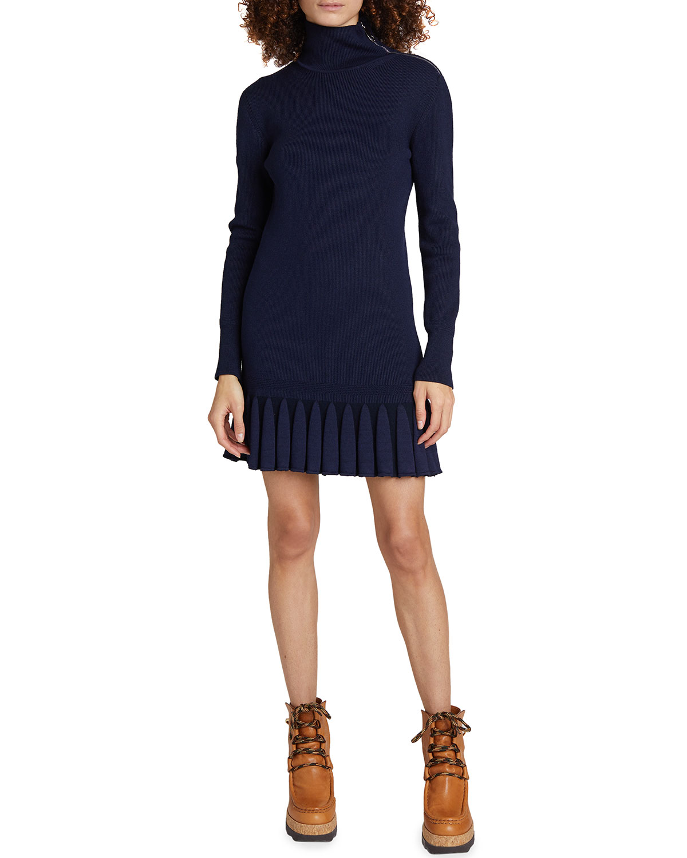 Ruffle Knit Turtleneck Mini Dress