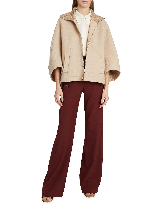 Ribbed High-Neck Oversized Wool Coat