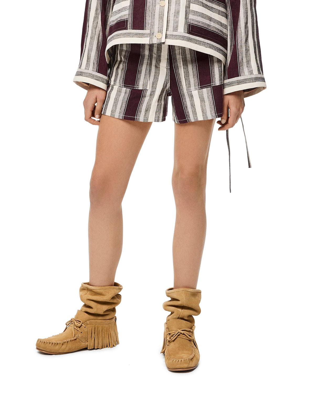 x Paula's Ibiza Striped Linen Shorts