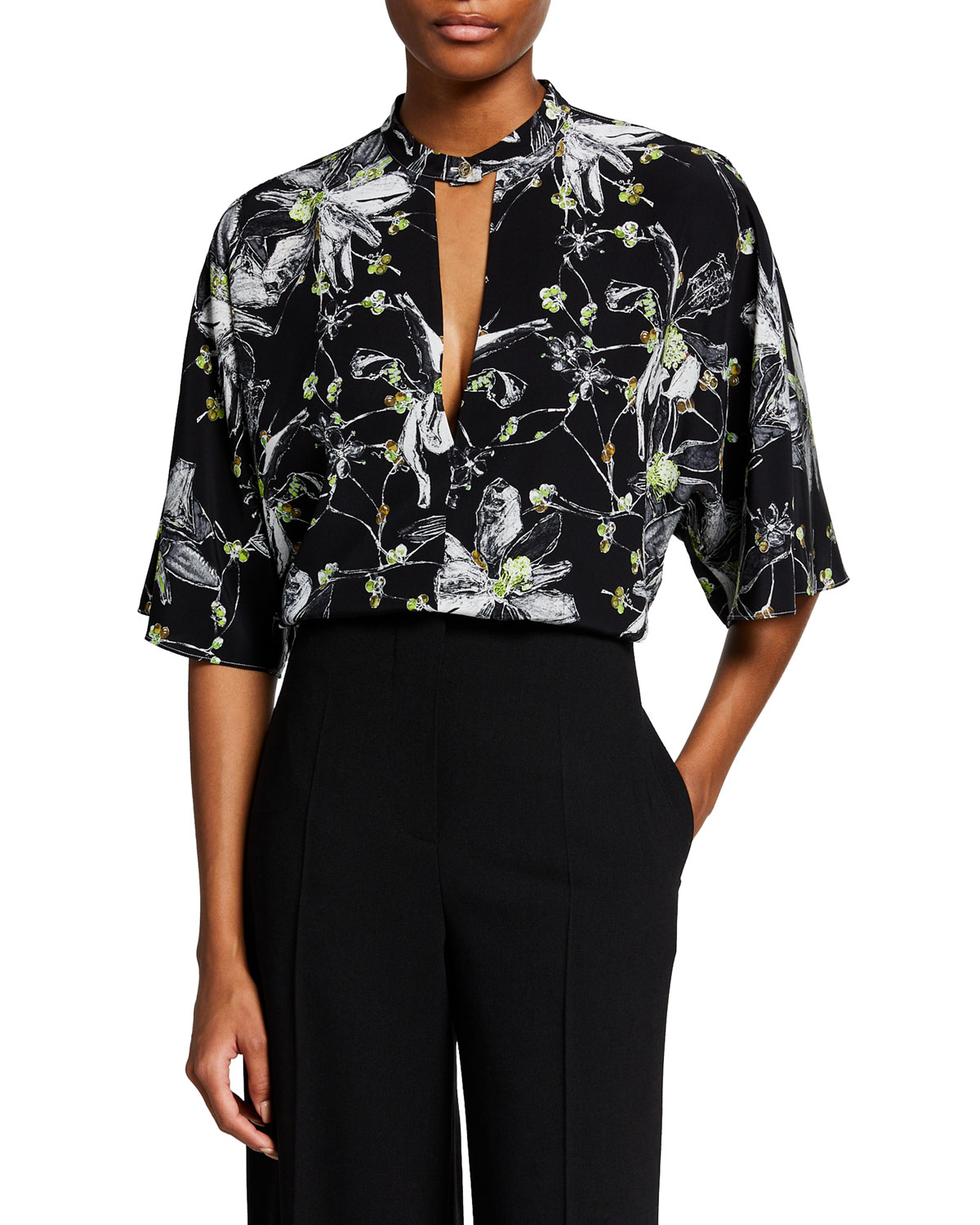 Floral-Printed Crepe De Chine Tunic Top