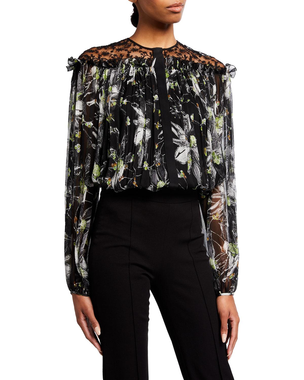 Floral-Printed Crinkle Silk-Chiffon Illusion Top