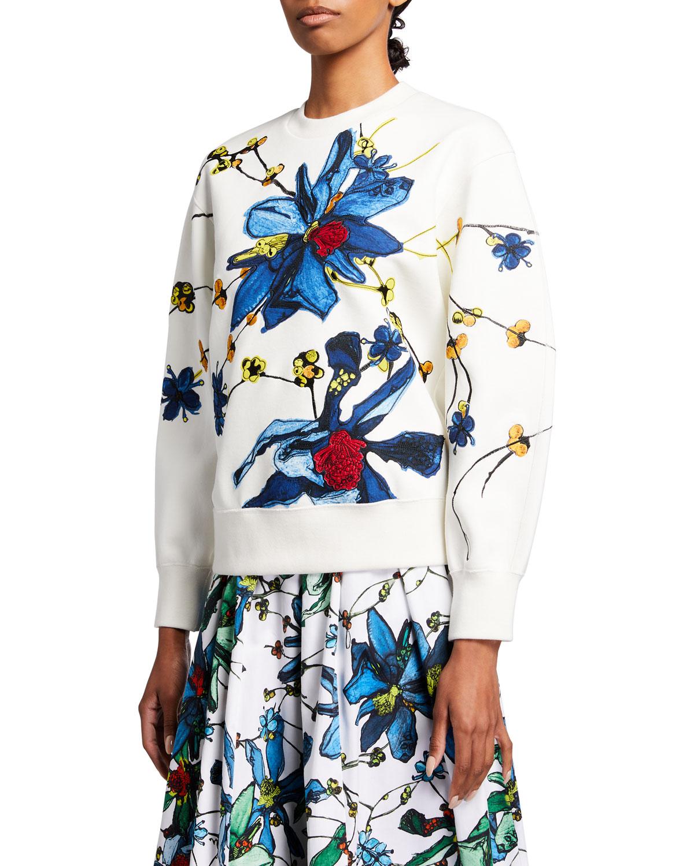 Floral-Print Crewneck Sweatshirt