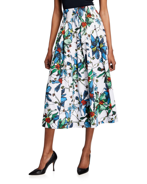 Floral-Printed Poplin Midi Skirt