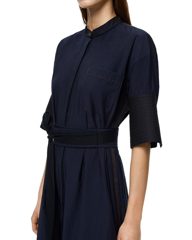 Mixed-Media Belted Midi Shirtdress