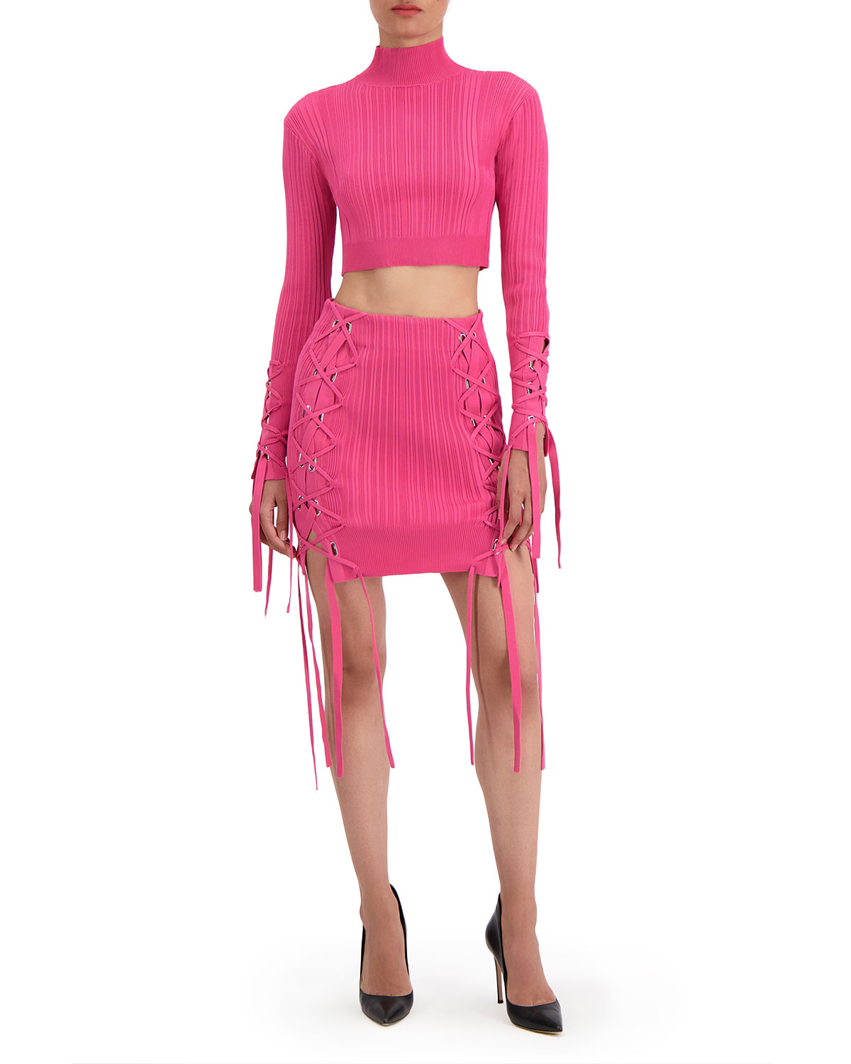 Variegated-Rib Lace-Up Crop Top