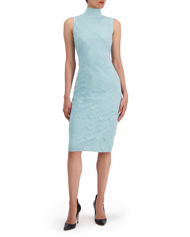 Woven Sleeveless Turtleneck Dress