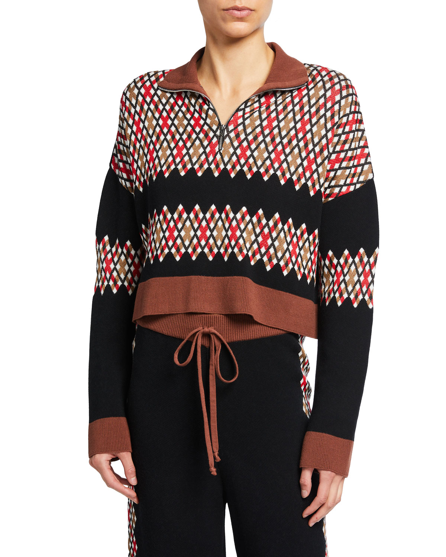 Half-Zip Cropped Wool Sweater