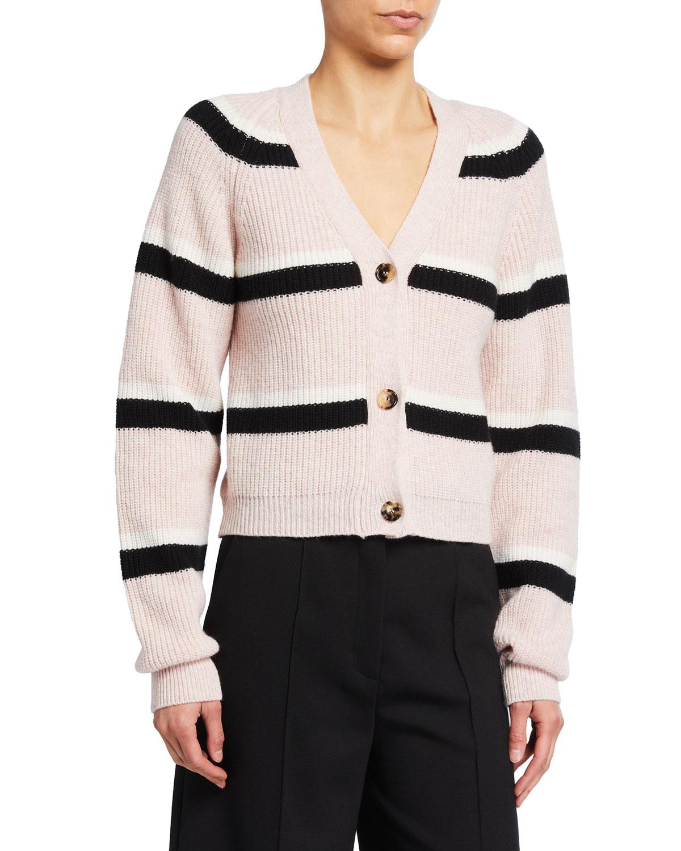 Striped Cropped Wool Cardigan