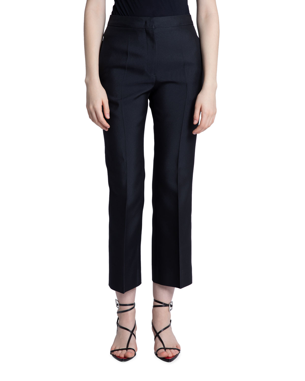 Techno Gabardine Straight-Leg Cropped Trousers