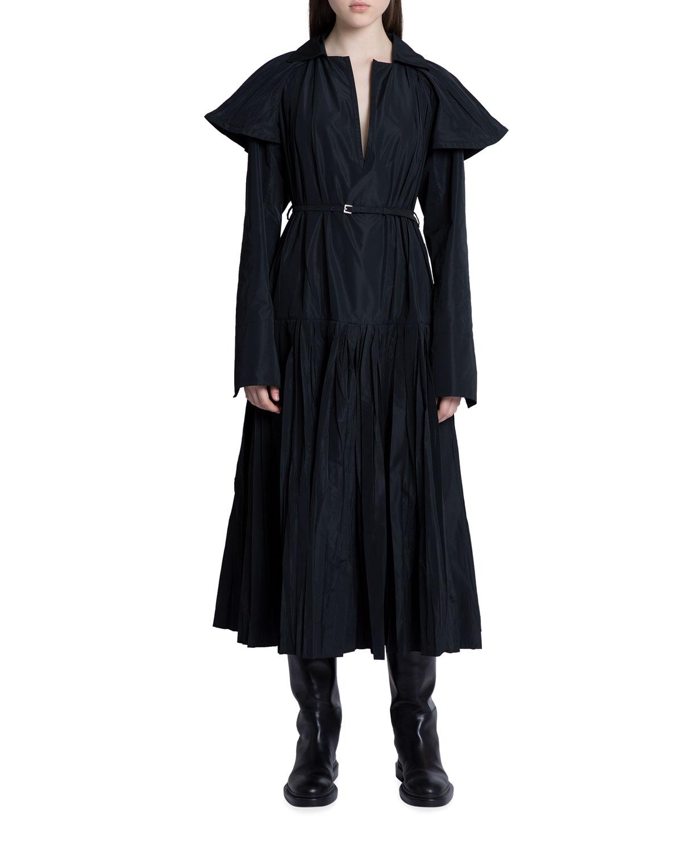 Pleated Taffeta Double-Sleeve Midi Dress