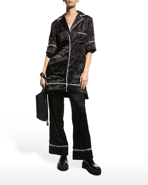 Satin Mohair-Trim Pajama Shirt
