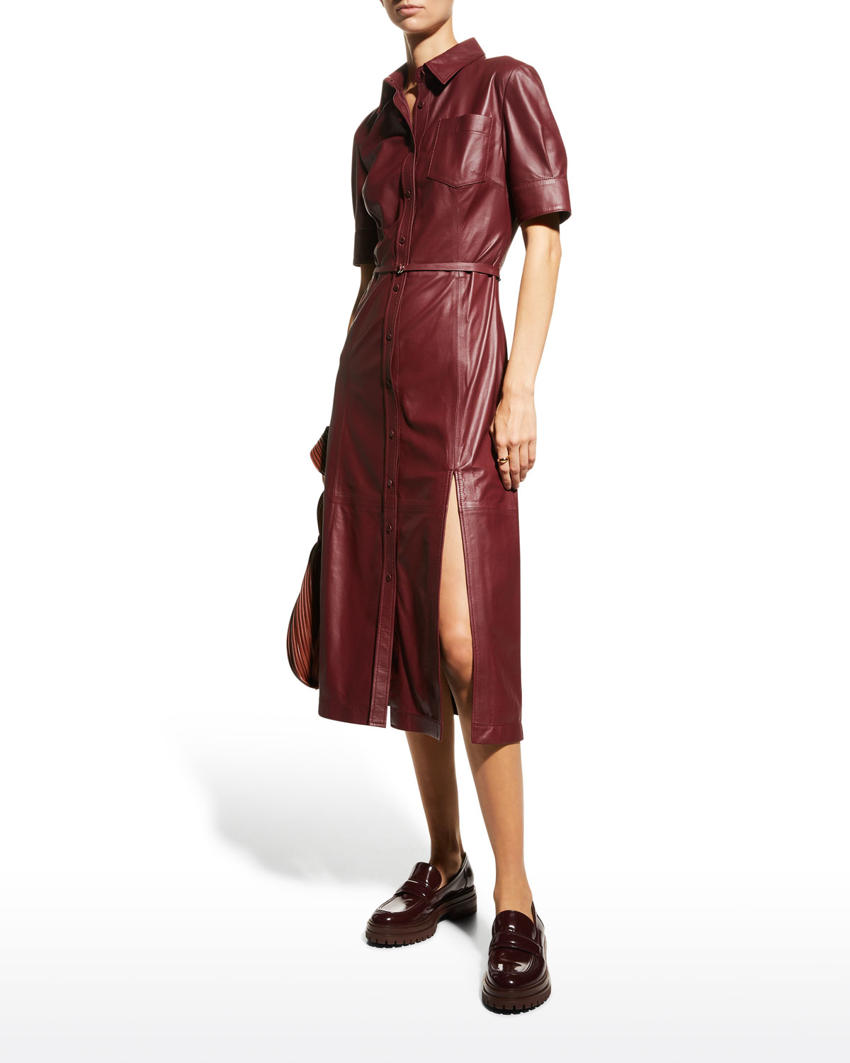 Leather Belted Midi Dress