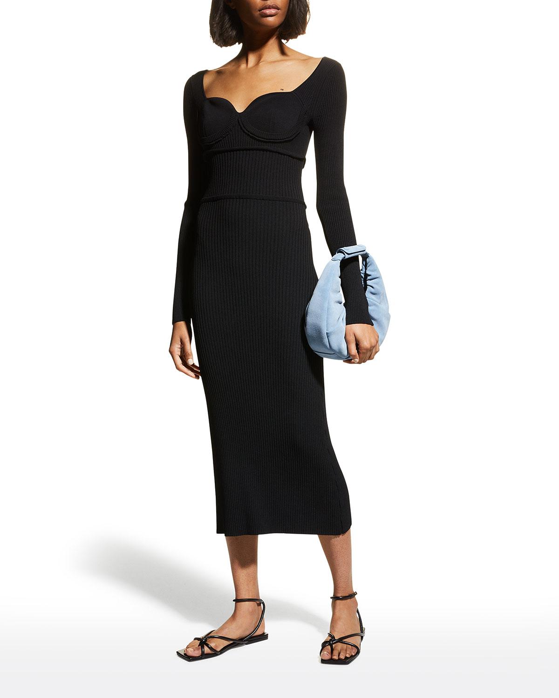 Ribbed Sweetheart-Neck Midi Dress