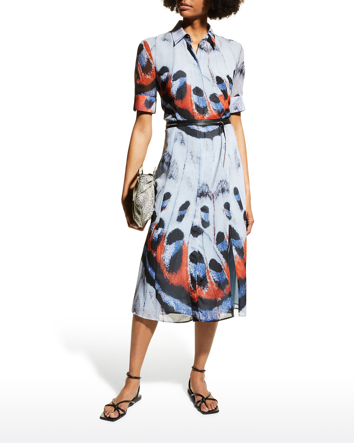 Butterfly-Print Belted Midi Shirtdress
