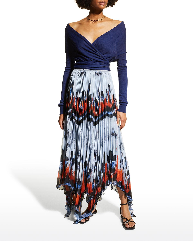 Asymmetric Butterfly Pleated Skirt