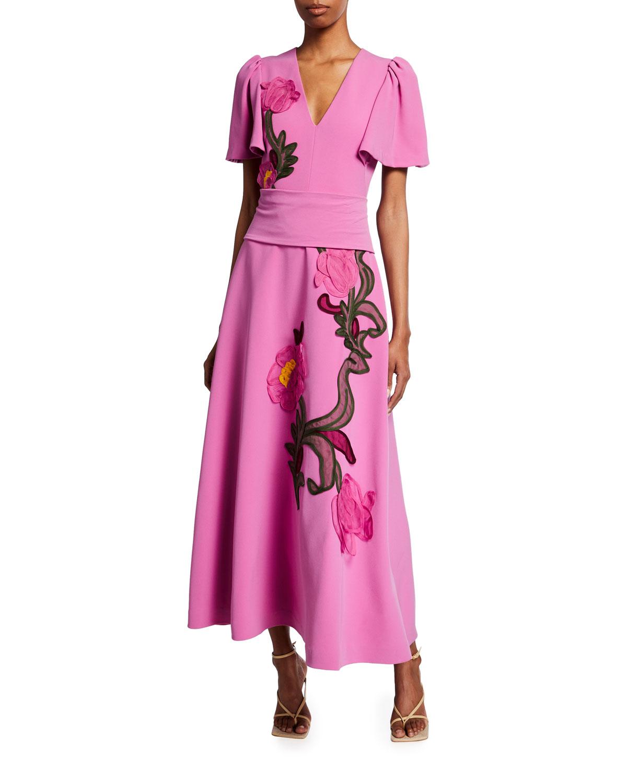 Floral-Embroidered Fluid Crepe Midi Dress
