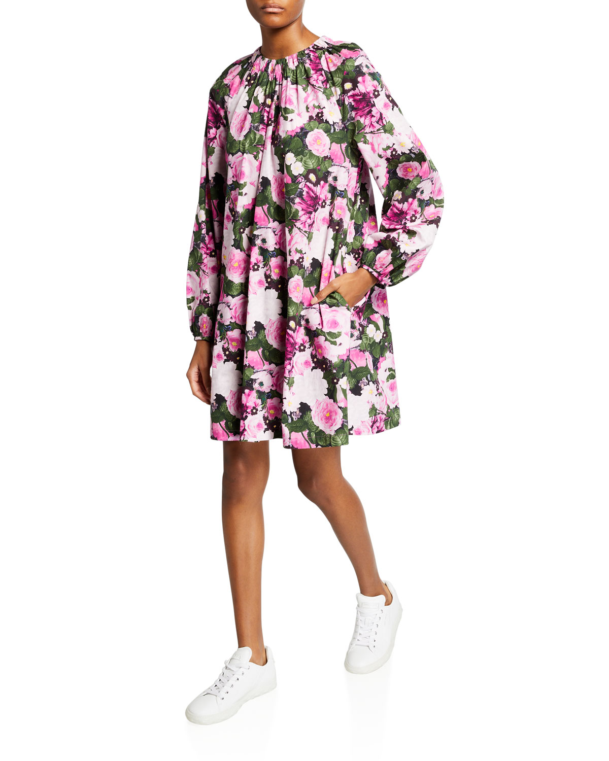 Floral-Printed Ruched Shift Dress