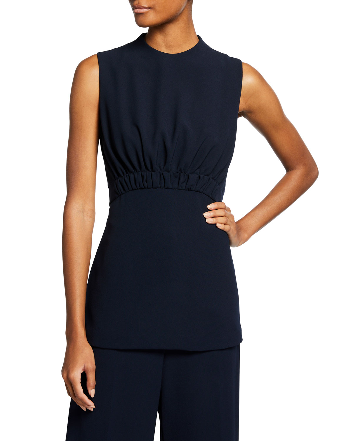 Ruched Fluid Crepe Top