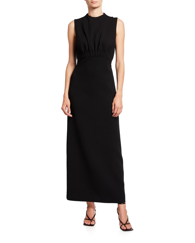 Ruched Crepe Maxi Dress
