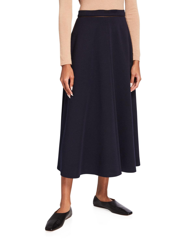 Douglas Wool Maxi Skirt w/ Contrast Piping