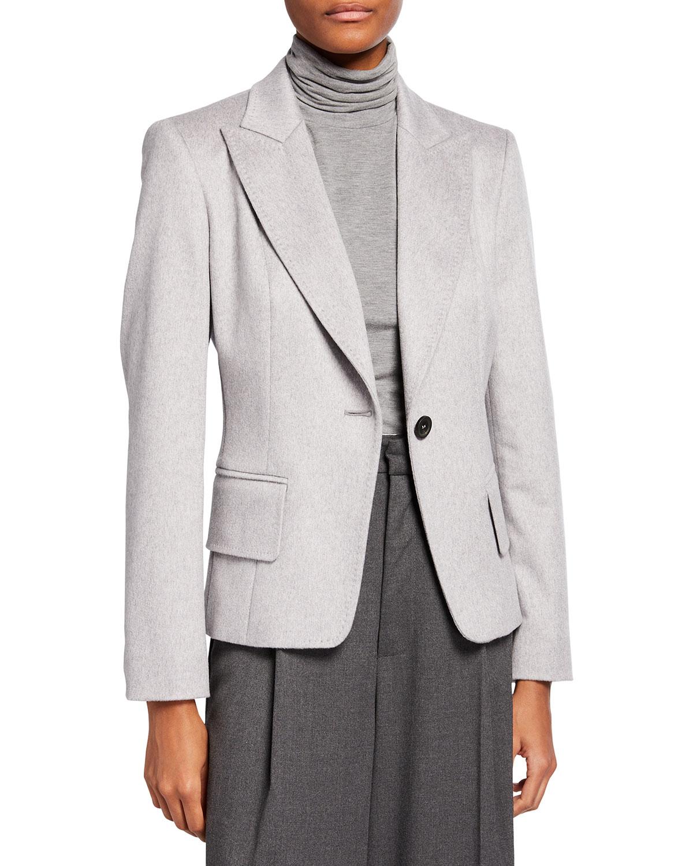 One-Button Cashmere Blazer