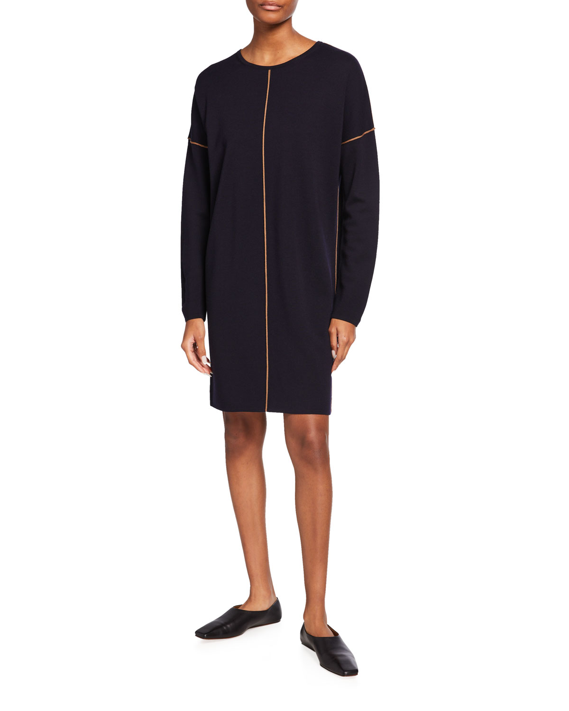 Tanaro Wool Shift Dress w/ Contrast Piping