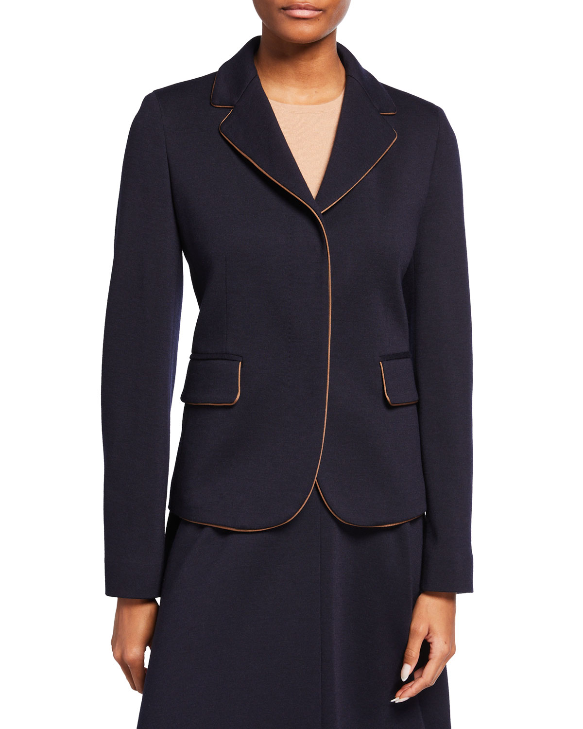 Pinide Wool Jersey Jacket w/ Contrast Piping